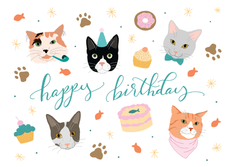 Happy Cats Birthday Card Free Greetings Island Cat Birthday Card Happy Birthday Cat Happy Birthday Cat Cards