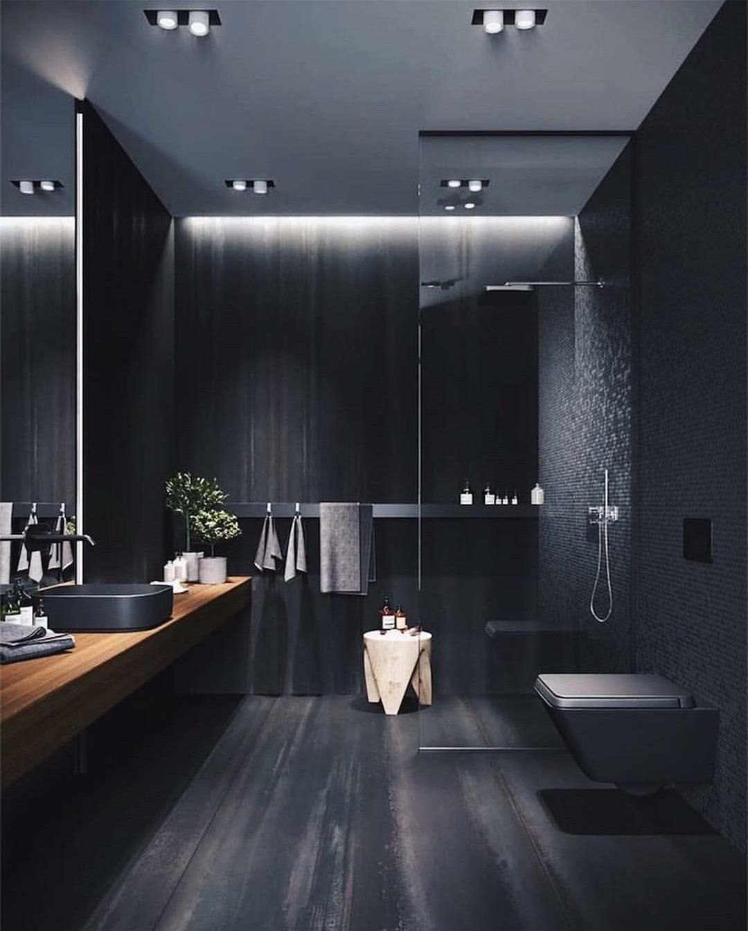 Gray black and sleek Bathroom decor in 2019 | Modern ...