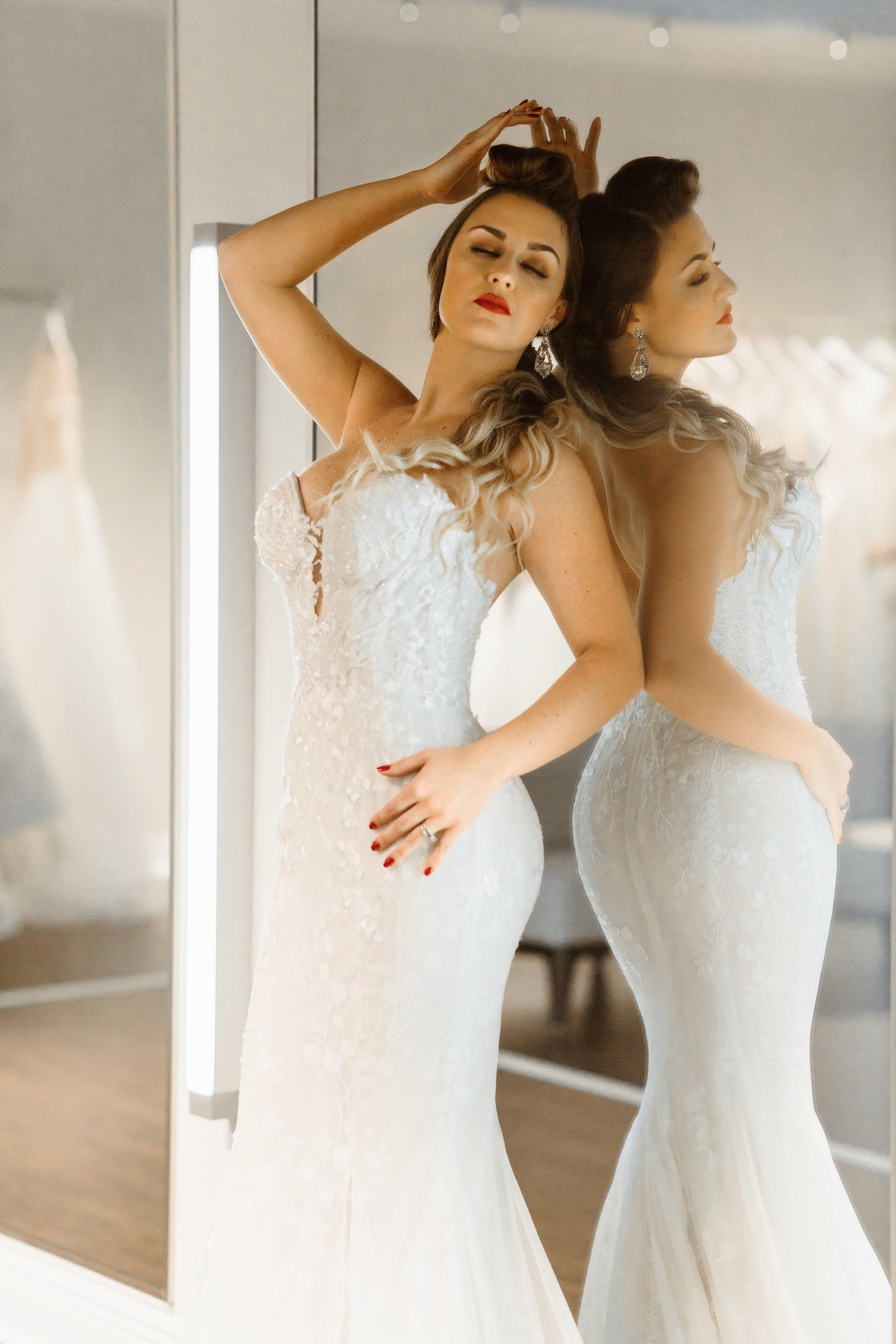 Low-back with plunging neckline lace wedding dress from Solutions ...