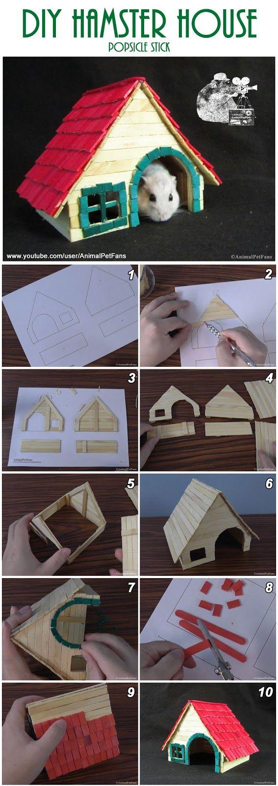 DIY Hamster House popsicle stick - Como fazer uma casinha de ...