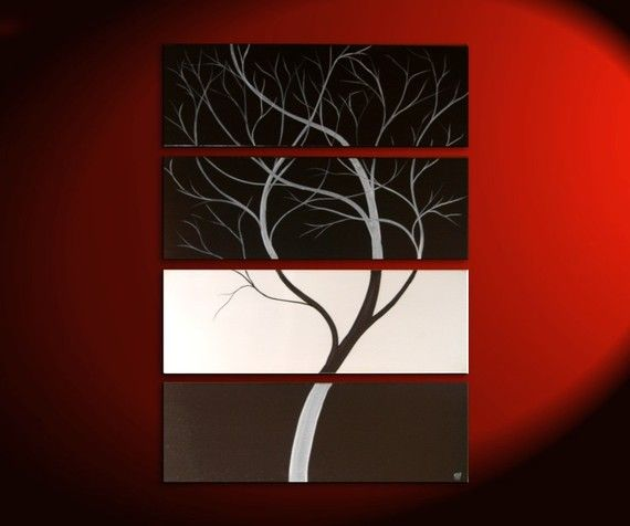 Monochrome Black and White Original Tree Painting Contemporary Art 24x32 or 36x48 Custom