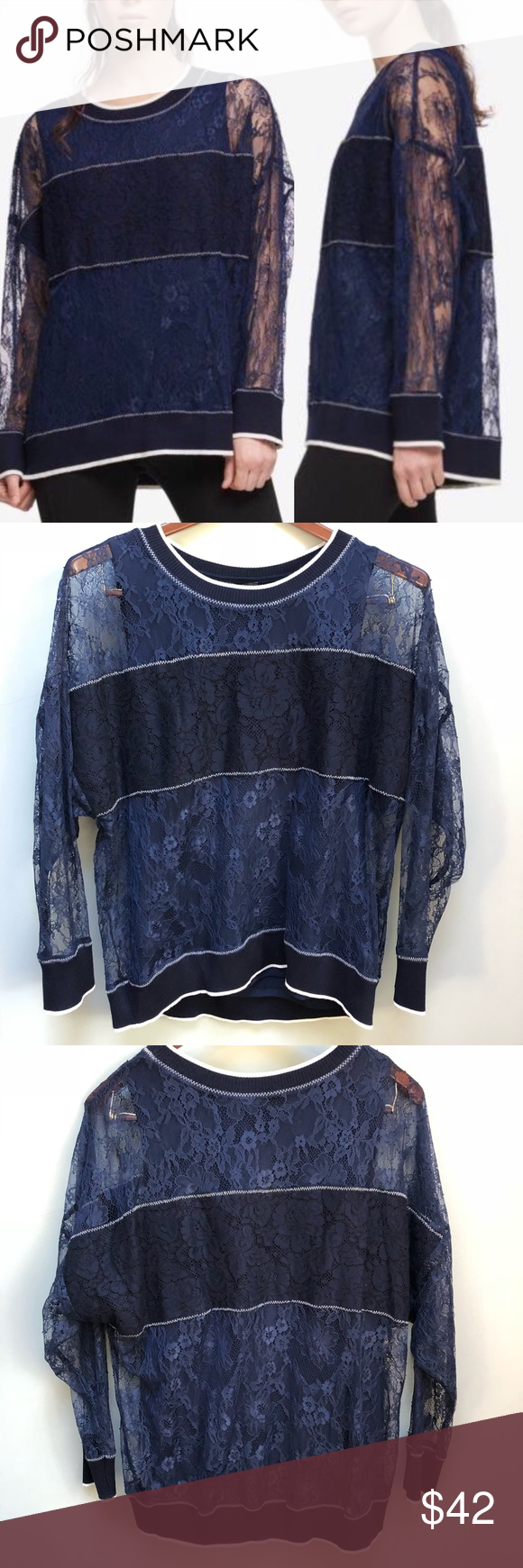 "240ec57603439e DKNY | Lace Navy Pullover Sweatshirt Blouse DKNY navy lace overlay long  sleeve shirt Attached tank top New with tags Size medium Pit to pit: 26""  Length: 29"" ..."