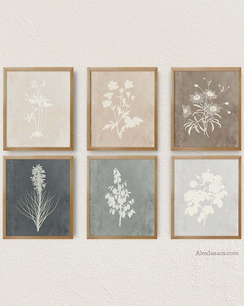 Modern Farmhouse Botanical Prints, Set of 6 Prints #modernfarmhouseart #beigebotanical #graybotanicals #farmhouseart