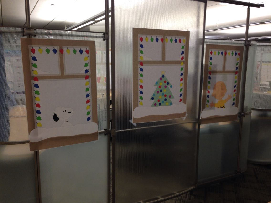 Peanuts christmas cubicle decorating idea! X-mas Pinterest - Cubicle Halloween Decorations