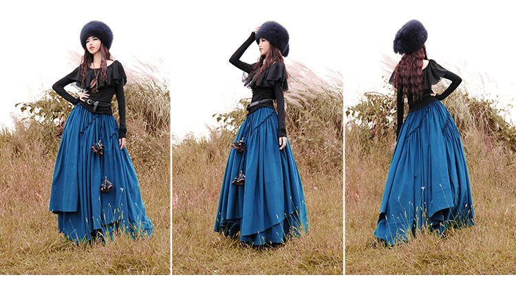 Conception originale automne hiver de haute qualité en velours côtelé Vintage plissée femmes jupes longues / Casual mode exagérée Maxi jupe dans Jupes de Accessoires et vêtements pour femmes sur AliExpress.com | Alibaba Group