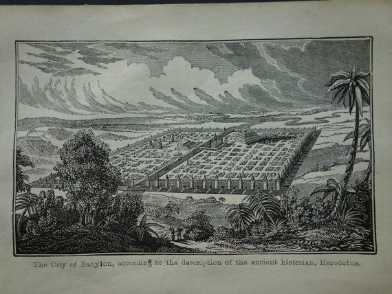 Babylon  panorama 1839 small antique print by DecorativePrints