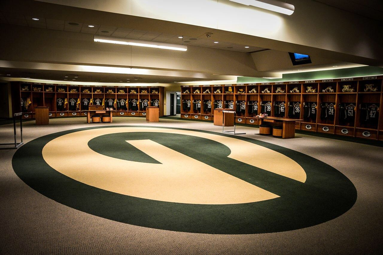 Locker room set up for game day. | Photo by Ryan Hartwig