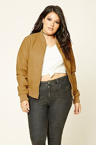 1072ea194aa Plus Size Bomber Jacket. details Forever 21+ - A faux leather bomber jacket  featuring a high-polish zip-front