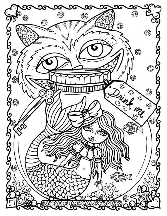 ALICE IN WATERLAND COLORING BOOK Alice Is Lost Under The Sea With All Her Favorite Friends If You Love Mermaids And Will Loveeeeeeeeeeeee This