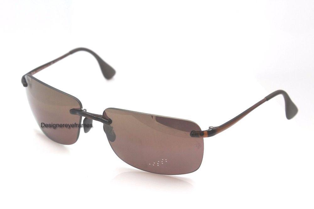 c88dcea421b RAY-BAN RB 4255 604 6B Brown Purple Polarized 55MM Rimless Sunglasses NWC  AUTH  RayBan  Rimless