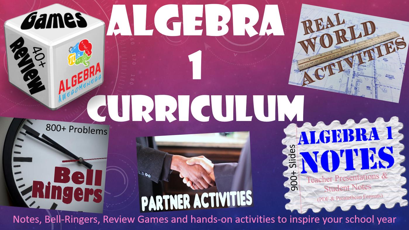 Algebra Curriculum Bundle Games Activities Notes Bell