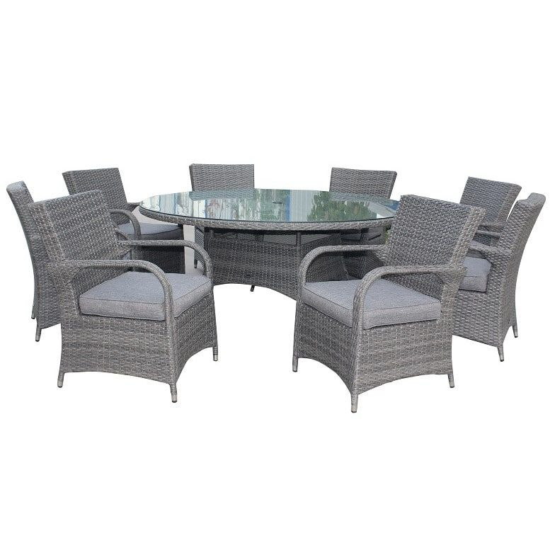 Royalcraft Paris Grey Rattan 8 Seater Round Deluxe Dining ...