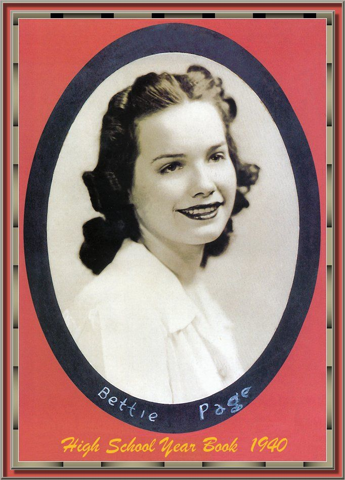 bettie page color - bettie page 39 s high school yearbook photo 1940 bettie
