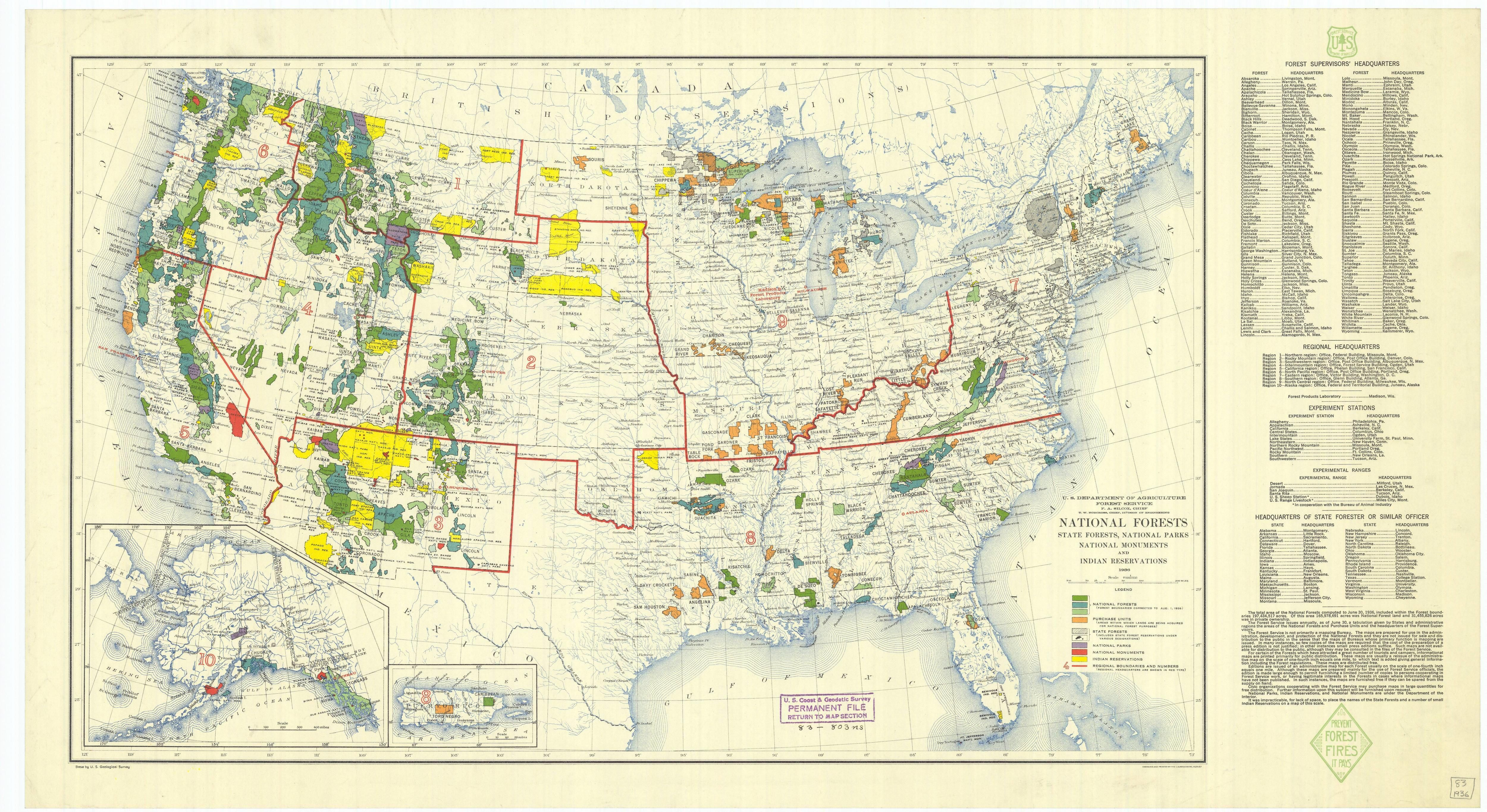 1936 Map Of United States National Forests State Forests