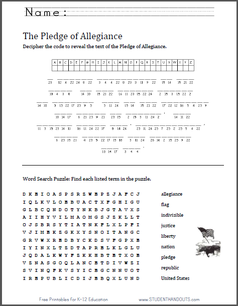 Pledge of Allegiance Puzzle Worksheet | Great for Flag Day, June ...