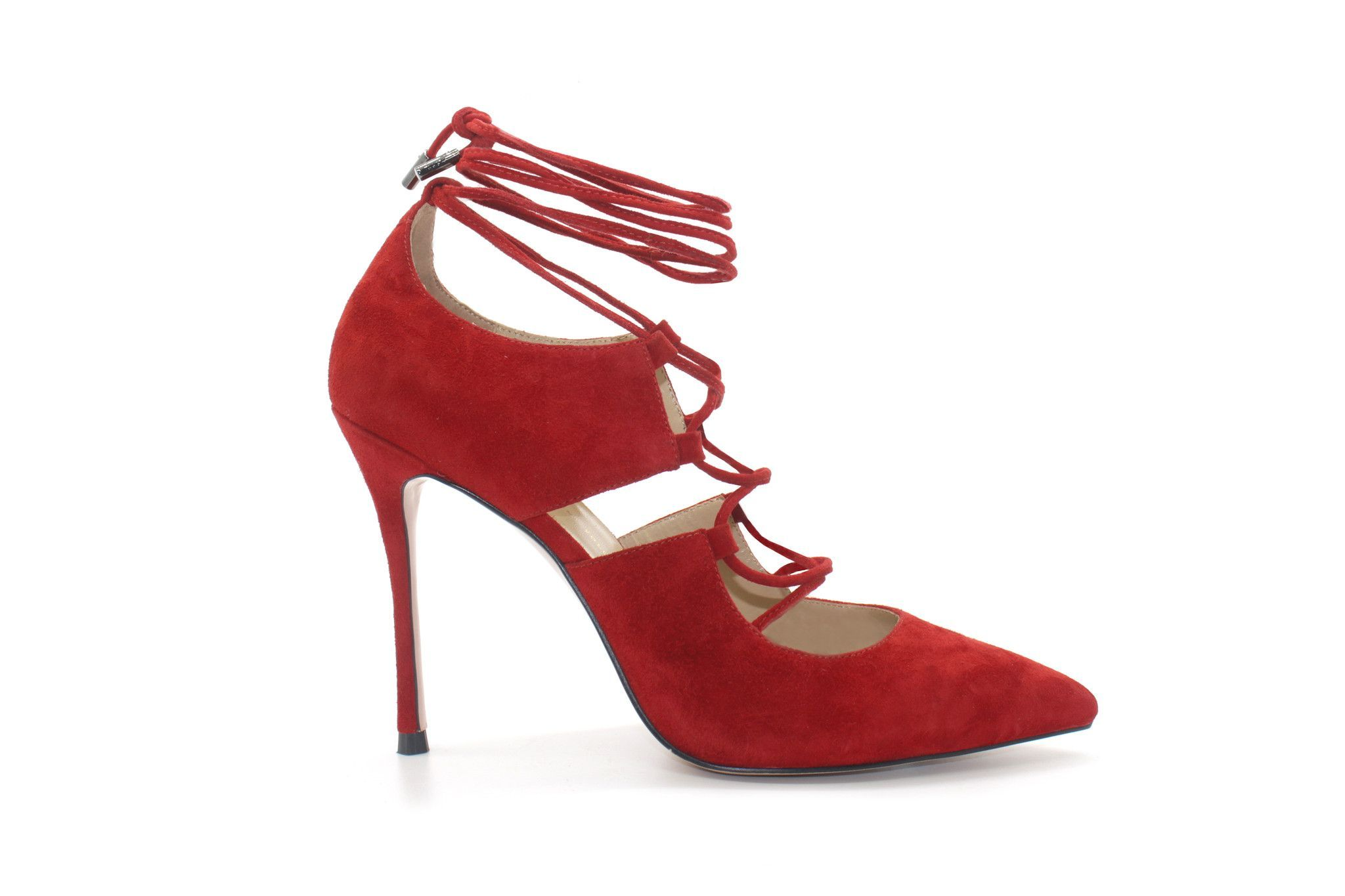 ffa9effa992 4 Inch Heels - Classic Red Suede Strappy High Heel Pumps