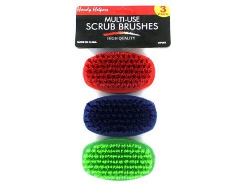 """New - Multi-use scrub brushes - Case of 45 by handy helpers by Handy Helpers. $71.18. Versatile and useful pack of 3 nylon scrub brushes are ideal for a number of household jobs. Each package includes a blue, a red and a green brush. They can be color coordinated to a specific job or a specific family member. Color of brush bristles matches color of brush itself. Comes packaged in a poly bag with header card. Each brush measures 3 3/4"""" x 2 1/4""""."""