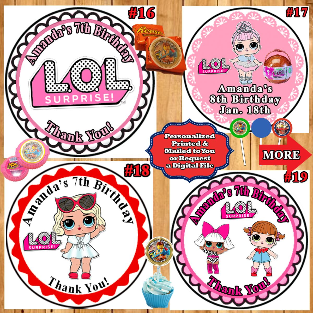 Lol surprise birthday stickers labels round 1 sheet personalized customized