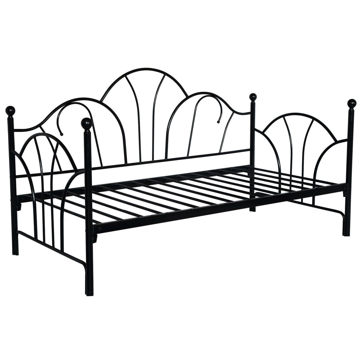 Twin size Contemporary Black Metal Day Bed Frame with Slats | Bancos