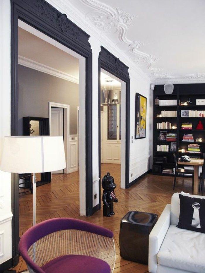 nos astuces en photos pour peindre une pi ce en deux couleurs parquet clair salon baroque et. Black Bedroom Furniture Sets. Home Design Ideas
