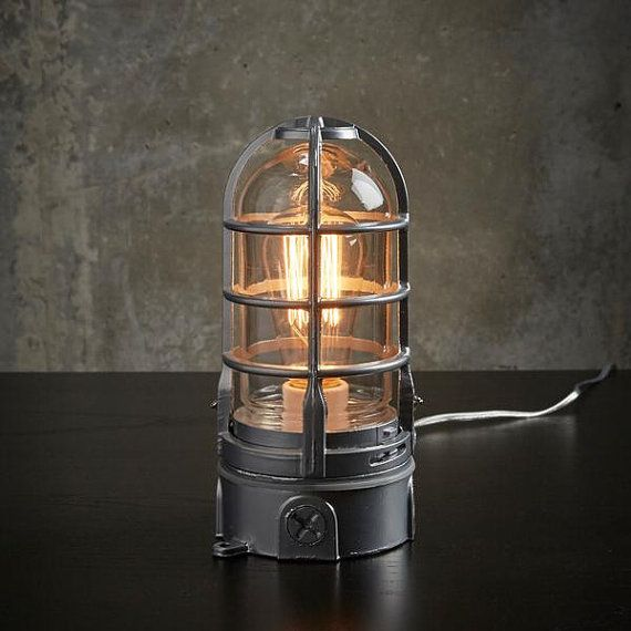 Industrial Table Lamp With Touch Dimmer Nautical Cage Light Etsy Lamp Industrial Table Lamp Industrial Lamp