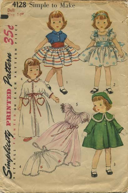 Vintage Doll Clothes Sewing Pattern | Wardrobe suitable for Toni ...