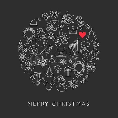Bola de Navidad - iconos de líneas en blanco y negro