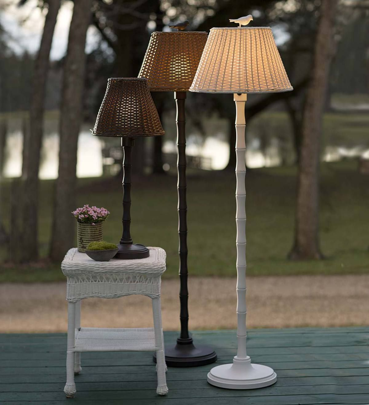 Light Up Your Outdoor Living Areas With Our Completely Waterproof Outdoor Wicker Lamp That Stands Up To The Outdoor Floor Lamps Wicker Floor Lamp Outdoor Lamp