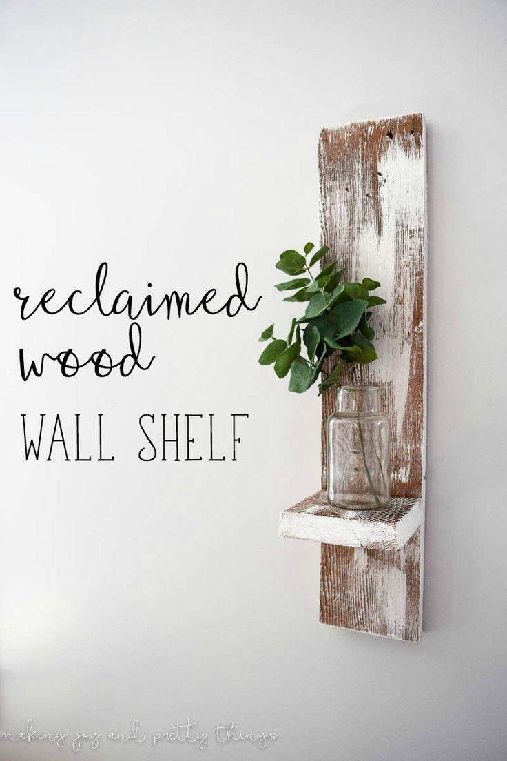 Reclaimed wood wall shelf farmhouse decor ideas pinterest wood