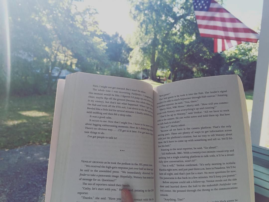 Where is your favorite place to read? On the couch on a lazy afternoon? Under the covers with a flashlight? In the morning on the front porch is my ideal. #bookstagram #bookworm #readingplace #TheMartian #andyweir #subscriptionbox #usedbooks by bookbagbox