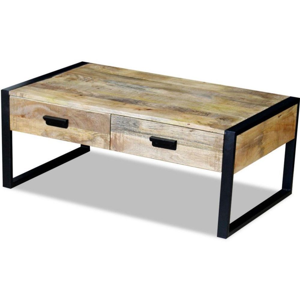 Details About Vintage Industrial Coffee Table Retro Style Furniture 2 Drawers Wood Iron Legs