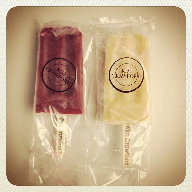 """""""big people pops""""    Sauvignon Blanc-Infused Yellow Peach and Vanilla Ice Pops         Pinot Noir-Infused Blackberry Ice Pops"""