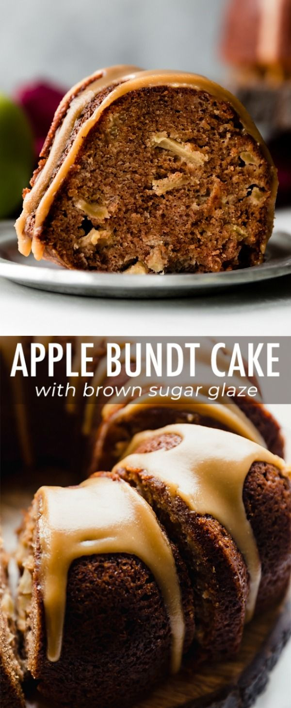 This deliciously moist and spiced apple bundt cake is smothered in a buttery brown sugar glaze! Recipe on sallysbakingaddiction.com