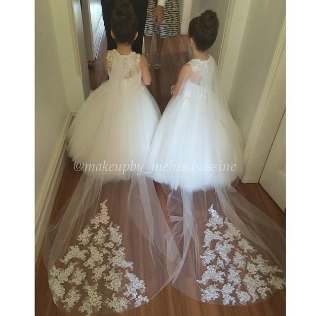 Little Girl Wedding Dresses 2015 Lovely White Lace Tulle Flower Girl Dresses A Line Jewel Neck Long Lace Train Formal Party Dresses For Wedding Clearance Flower Girl Dresses From Wsy138, $86.34| Dhgate.Com