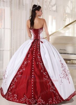 White Quinceanera Dress With Wine Red Embroidery Details  7a05f6ba2b02