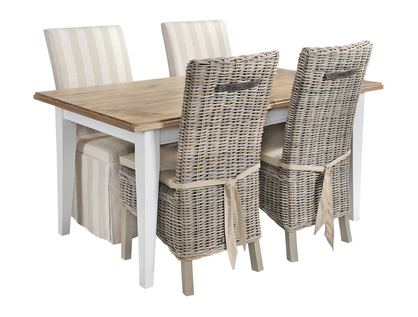 Extra Large Garden Set White Rattan 8 Seater Glass Dining Table