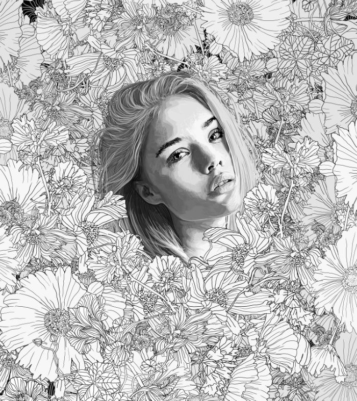 Nature,Flowers, Girl, line art, drawing, sketch, line drawing, lines, wilderness