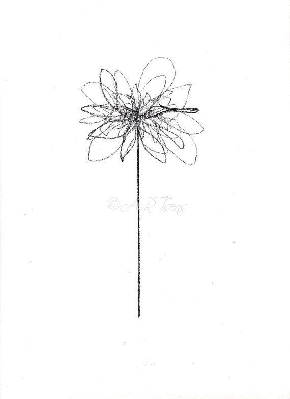 Abstract Flower Art Print Botanical Illustration Blume