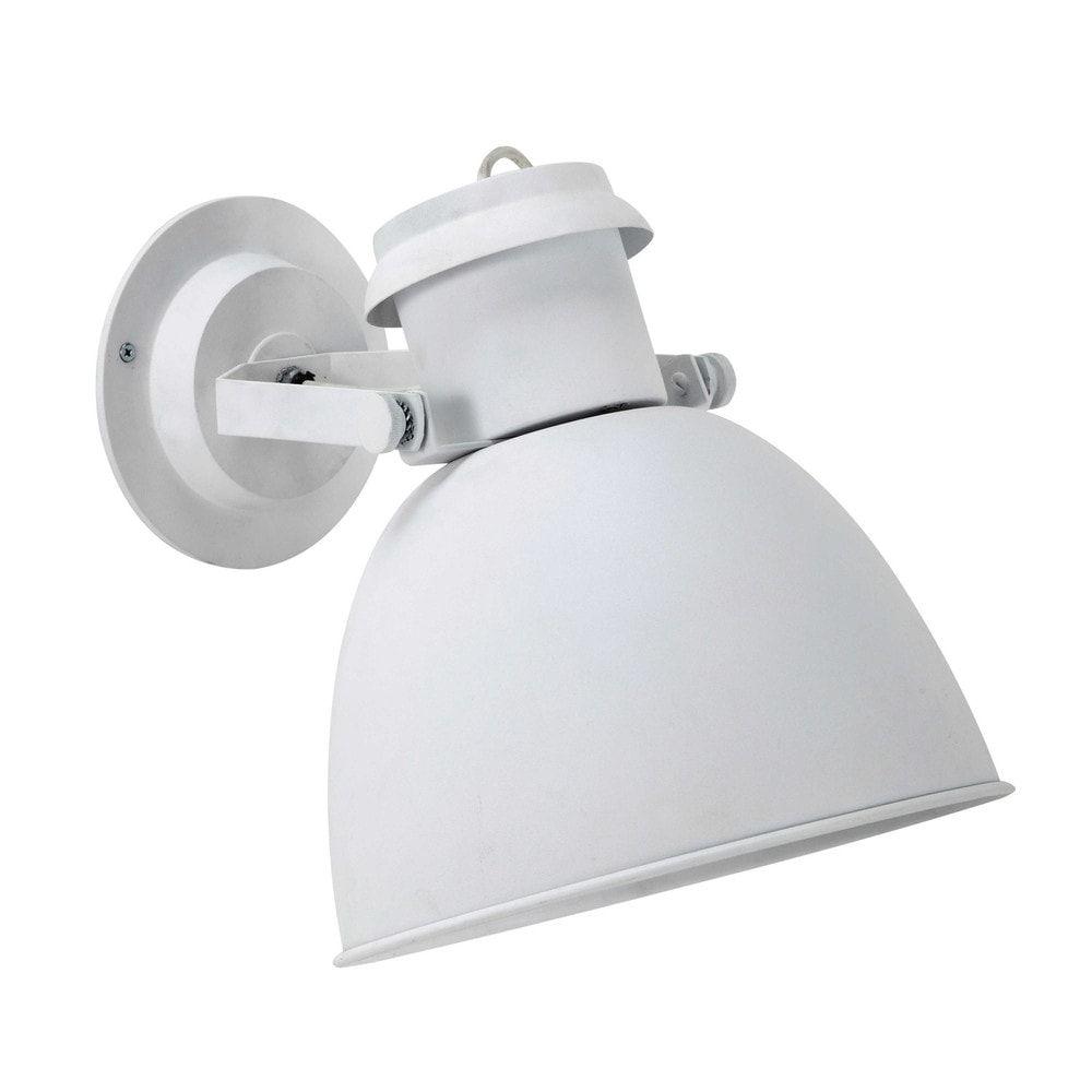 Applique bianca con faretto orientabile in metallo H 35 cm NORWAY