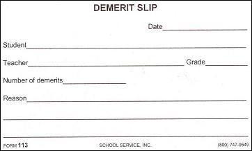 demerits in school