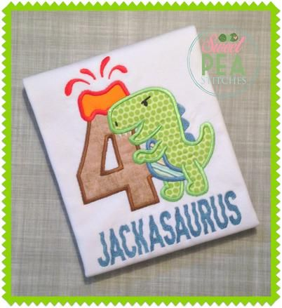 Machine embroidered dino with child's age and name.  Leave a note at time of purchase to let me know the letter or number and name of child. Be sure to double check for any typo/autocorrect errors.  Please check my current turnaround time listed in ...