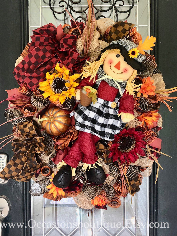 Fall Wreath, Scarecrow Wreath, Autumn Decor, Door Hanger