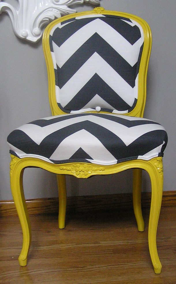 Grey And White Chevron Chair