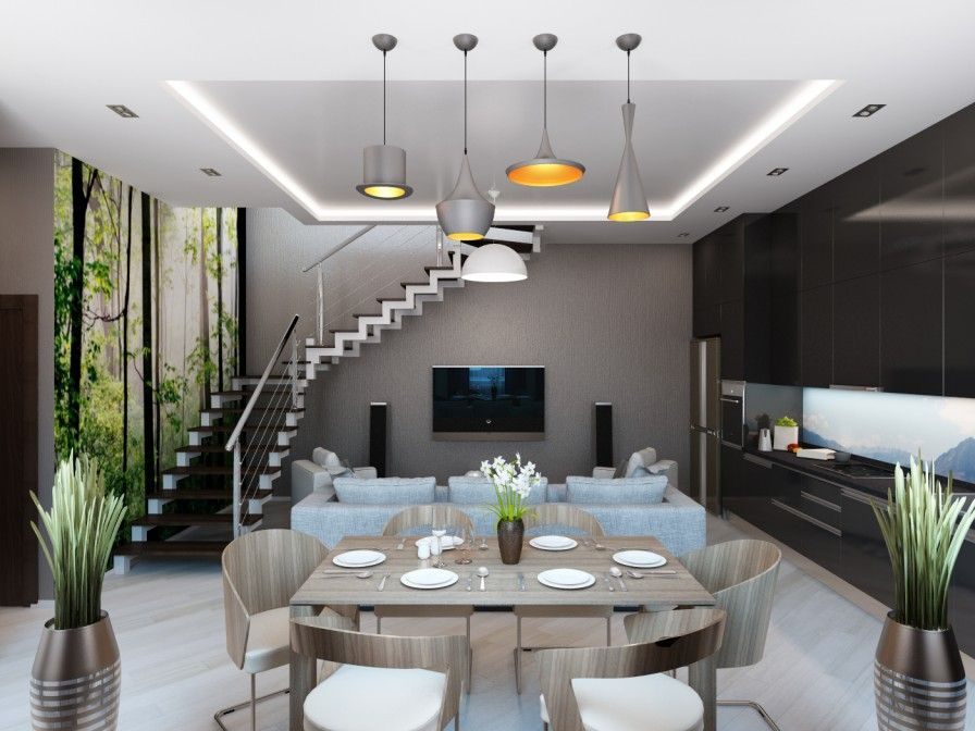 Modern Dining Area With Gray Pendant Lighting Fixture And Wooden New Modern Dining Room Pendant Lighting Decorating Inspiration