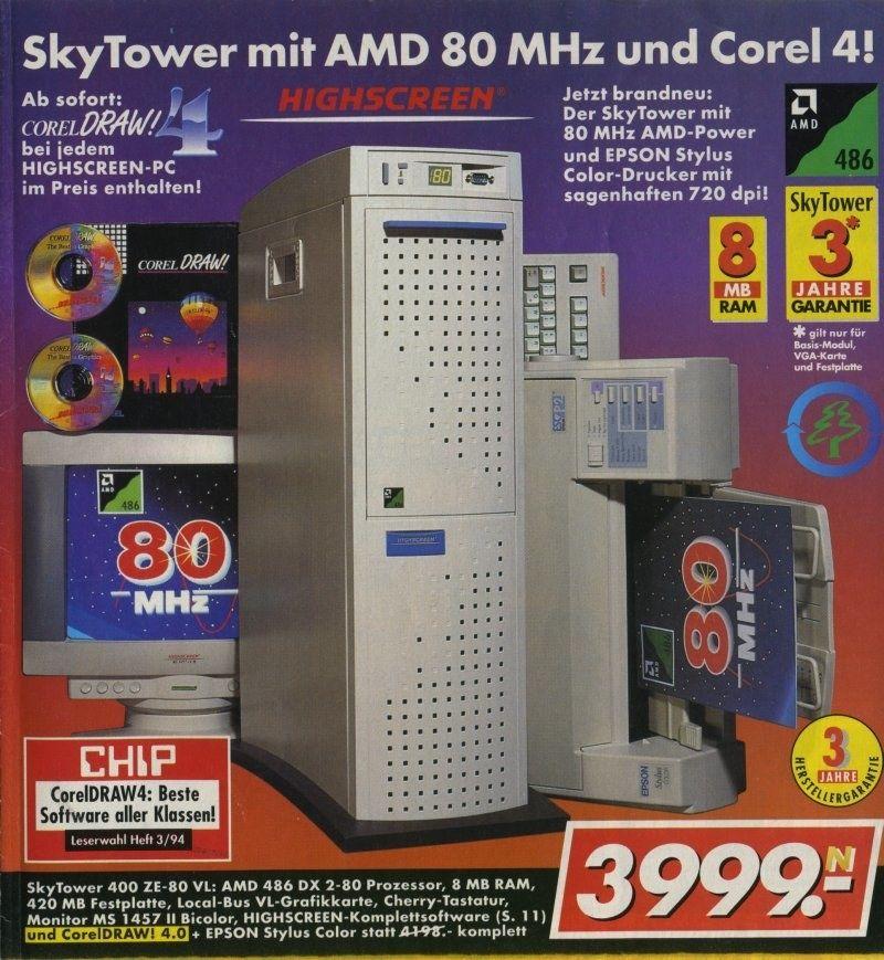 1994 waren SkyTower immer noch angesagt. Beim Prozessor sind wir mittlerweile bei 80 MHz angelangt. #electronicgadgets