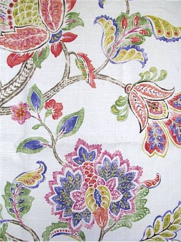 Garden Retreat Tumbleweed   P. Kaufmann Fabric   Colorful Watercolor  Jacobean Floral Print. Multi