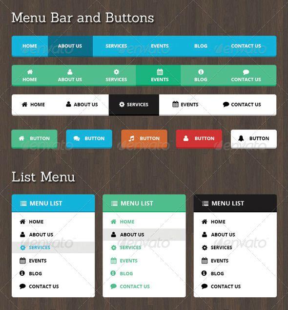 Neelam Web Menu Bar And Buttons Navigation Bars Web Elements Download Here Https Graphicriver Net I Menu Design Template Website Menu Design Website Menu