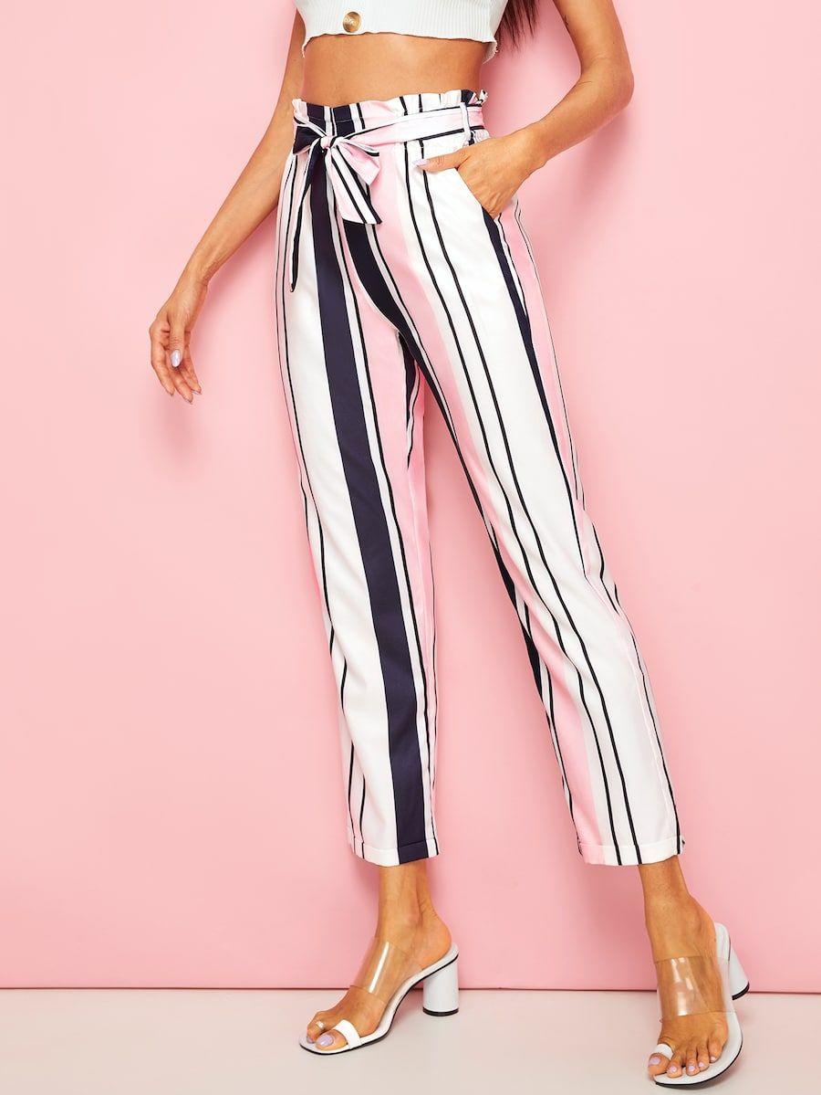 Pantalones con cinturón de rayas   SHEIN ES   Pantalones ...