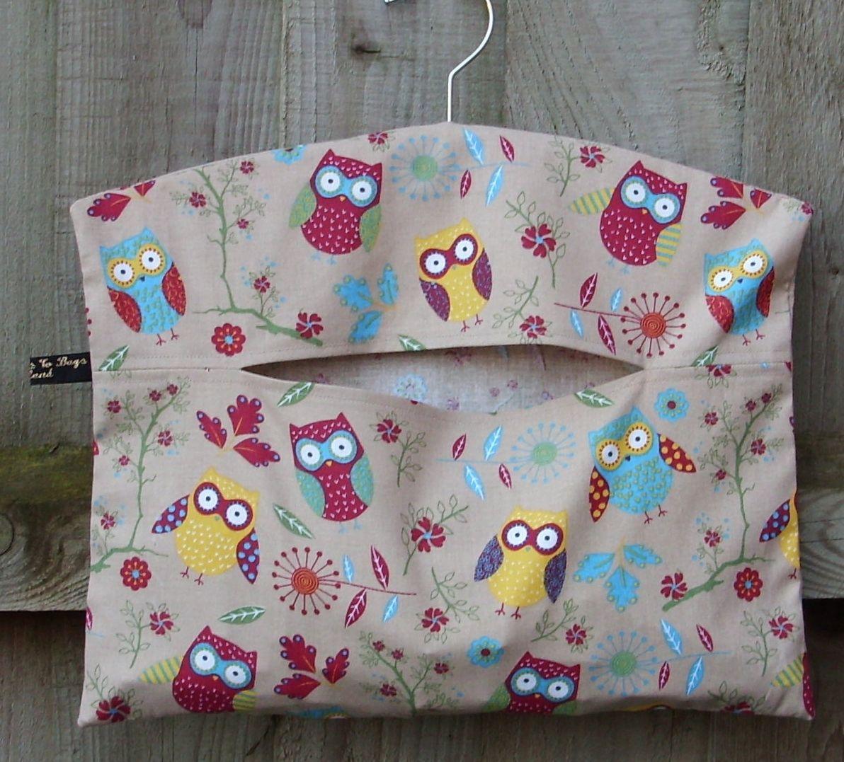 Retro owl clothes pin peg bag fromragstobags lowering