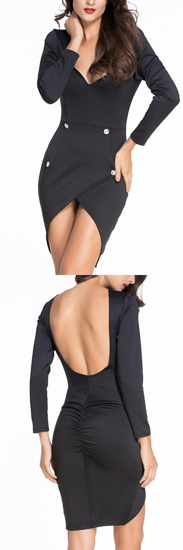Black Sexy Backless Irregular Hem Bodycon Dress